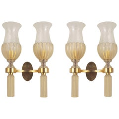 Pair of Italian Venetian Murano 1940s Gold Dusted Glass Wall Sconces