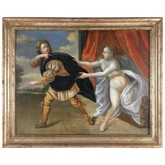 18th Century Italian Painting of Joseph and Potiphar's Wife
