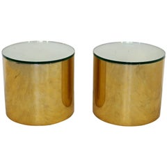 Mid-Century Modern Pair of Brass Round Drum Side Tables Paul Mayen Habitat