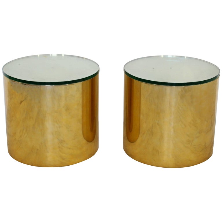Mid-Century Modern Pair of Brass Round Drum Side Tables Paul Mayen Habitat For Sale