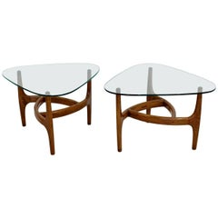 Mid-Century Modern Pair of Side or End Table Wood and Glass