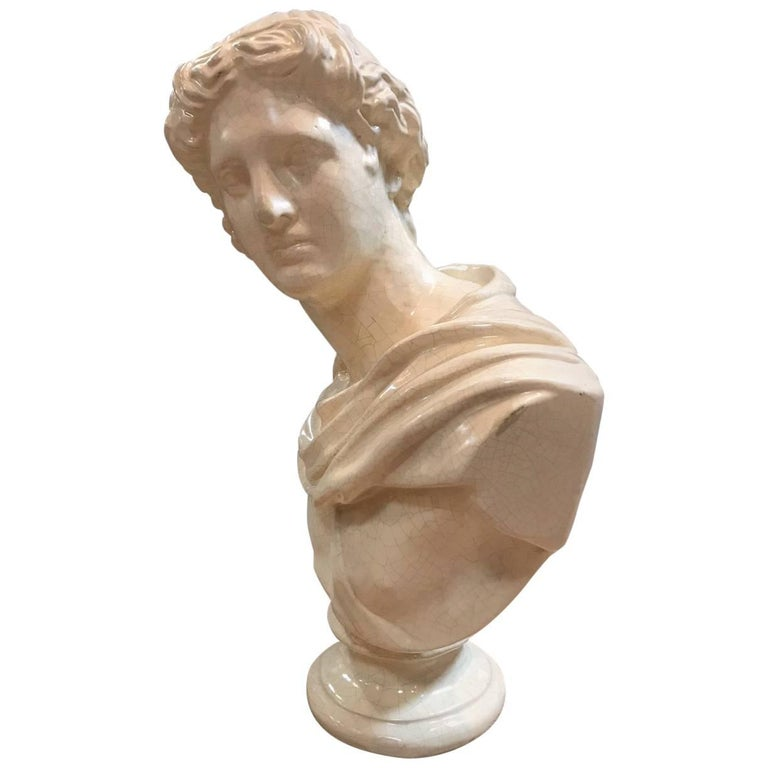 Roman Ceramic Bust For Sale