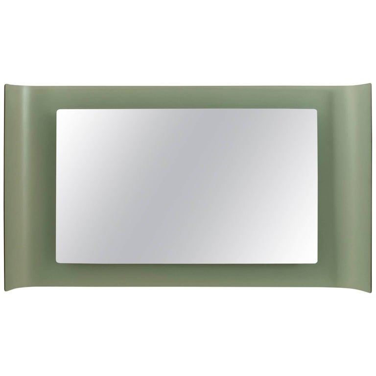 Italian 1960s Wall Mirror with a Large Rectangular Frosted Glass Frame