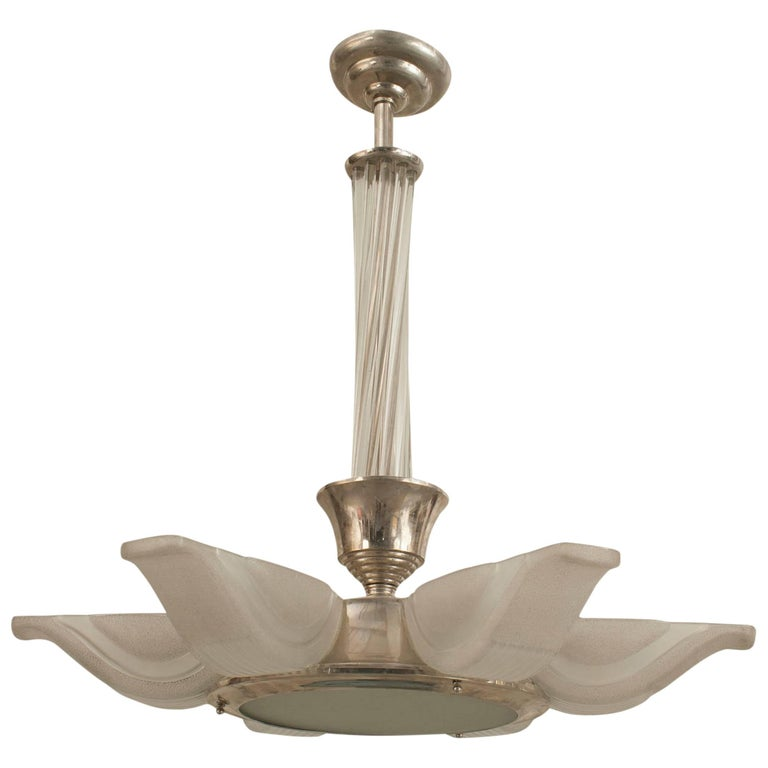 French Art Deco Chandelier with Six Frosted Glass Shades