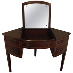 Corner Vanity with Mirror in Mahogany and Inlay, Early 20th Century