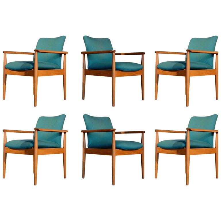 Set of Six Diplomat Armchairs by Finn Juhl for France & Son, 1960s