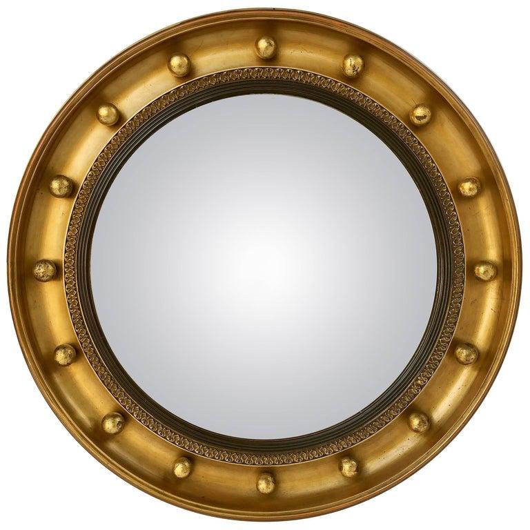 English Round Gilt Framed Convex Mirror