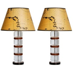 Pair of Lucite and Stitched Leather Lamps by Hermès, Paris