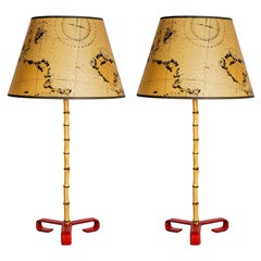 Pair of Stitched Leather Lamp by Jacques Adnet