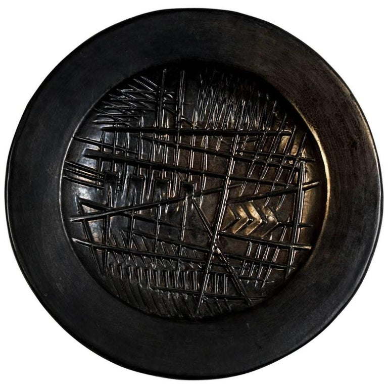 Wall Sculptural Ceramic Plate by Arnaldo Pomodoro