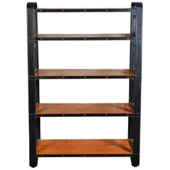 Rare Stitched Leather Bookcase by Jacques Adnet