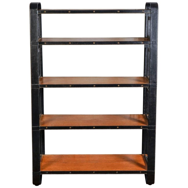 Rare Stitched Leather Bookcase by Jacques Adnet For Sale