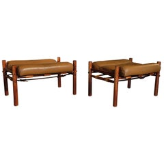 Pair of Leather Ottomans by Arne Norell, 1970s