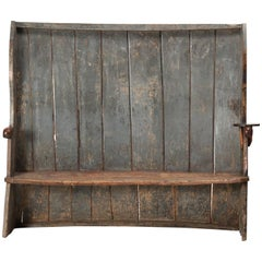 18th Century English Country Blue Painted Wooden Rustic Settle