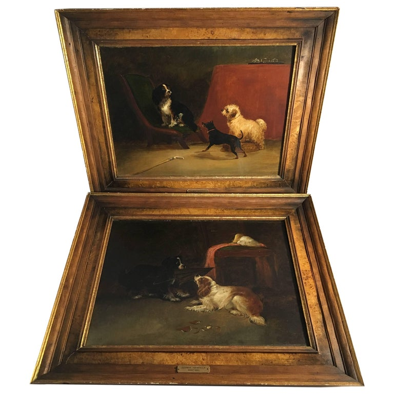 Pair of Dog Paintings, Attributed to George Armfield, 19th Century