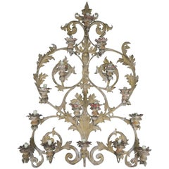 19th Century Italian 16-Light Wall Ornament for Candles