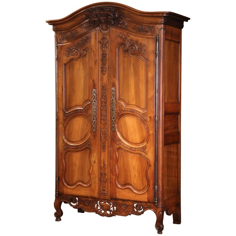 Exceptional 18th Century French Carved Walnut Wedding Armoire from Provence