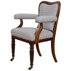 English William IV Period Mahogany and Upholstered Armchair, circa 1840