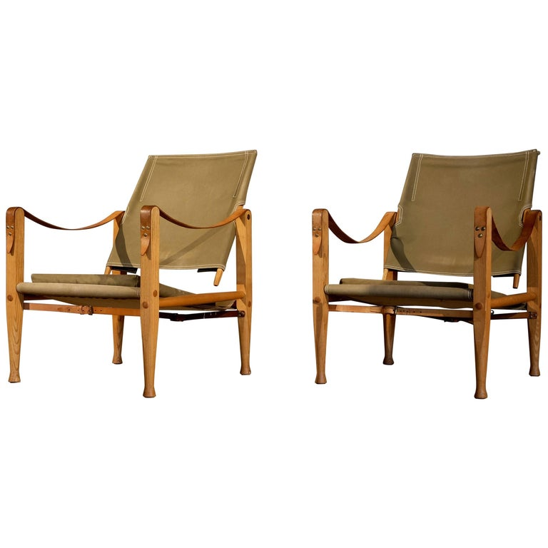 Pair of Kaare Klint Safari Chairs, 1960s