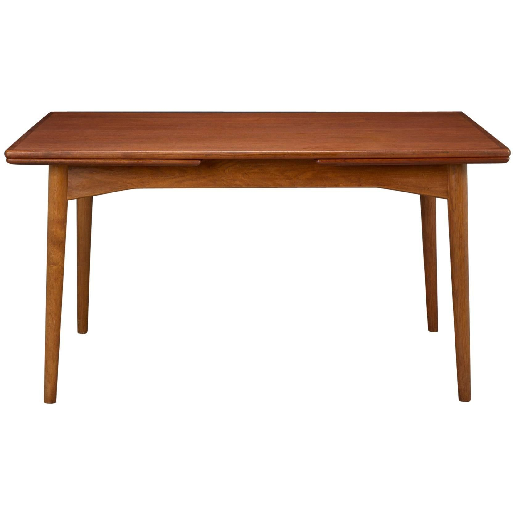 Danish Modern Teak Dining Table With Two Pull Out Leaves By Omann Jun For  Sale