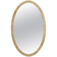 French Art Deco Large Oval Shaped Cream Colored Shagreen Wall Mirror