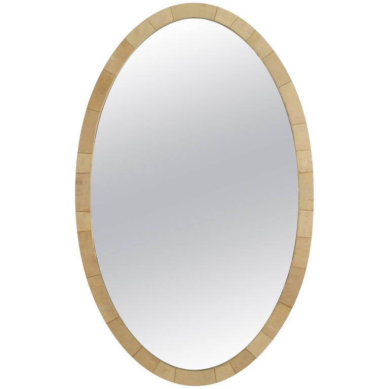 French Art Deco Large Oval Shaped Cream Colored Reen Wall Mirror For
