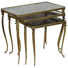 French Three Brass Nesting Tables with Smoked Mirrored Glass, Mid-20th Century