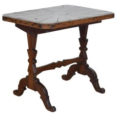 French Art Popular Style Oak Veneered Table from the Restauration Period