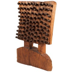 Midcentury Wood, Stud and Nail Brutalist Sculpture by an Unknown Artist