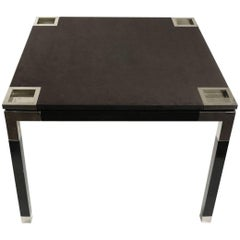 One of a Kind Game/Centre Table by Romeo Rega, Suede, Chrome, Italy, 1970s