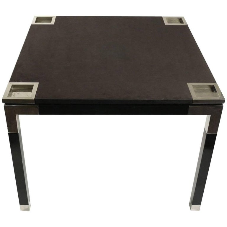 One of a Kind Game/Centre Table by Romeo Rega, Suede, Chrome, Italy, 1970s For Sale