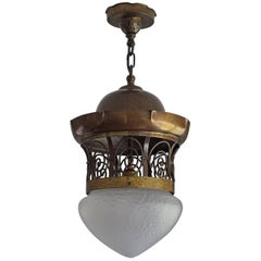 Unique Late 19th Century Brass and Glass Arts & Crafts Pendant / Light Fixture
