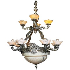 Early 20th Century Art-Deco Silvered Bronze & Alabaster Two-Tier Chandelier