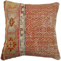Shabby Chic Orange Turkish Rug Pillow with Red Backside
