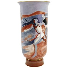 "Manufacture de Sèvres, Large Vase Decorated with ""Runners"", Art Deco, 1933"