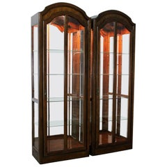 Lighted Curio Cabinets with Arched Top in Dark Wood a Vintage, Pair