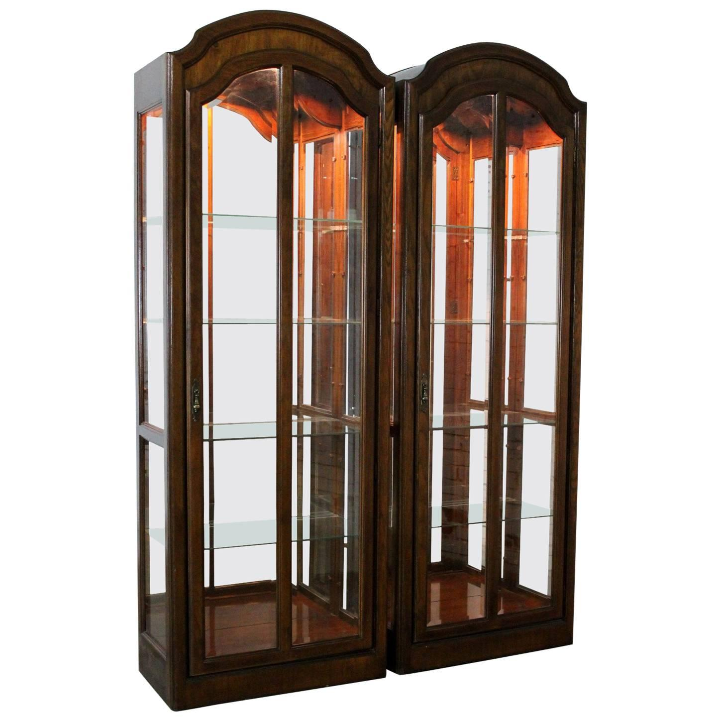 Delicieux Lighted Curio Cabinets With Arched Top In Dark Wood A Vintage, Pair