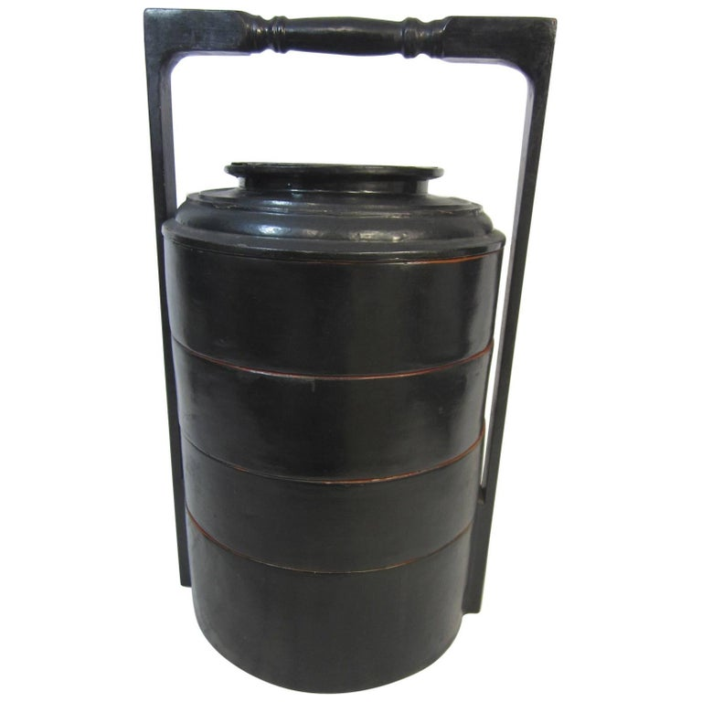 Chinese Black Lacquer Four-Tier Food Basket