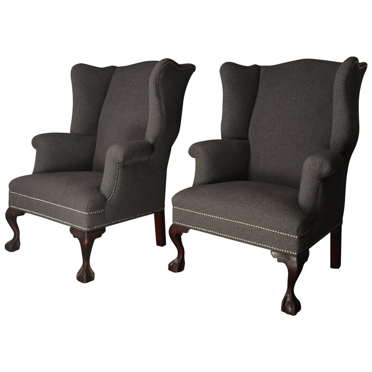 19th Century Wingback Chairs in Cashmere/Wool Blend For Sale