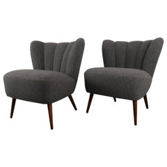 1950s German Club Chairs in Gray Boiled Wool