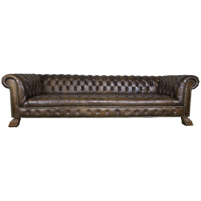 Monumental Leather Tufted Chesterfield Sofa with Lion Paw Feet