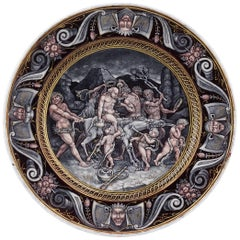 Limoges Enamel Plate, 'Silenious', 16th Century Style, 18th-19th Century