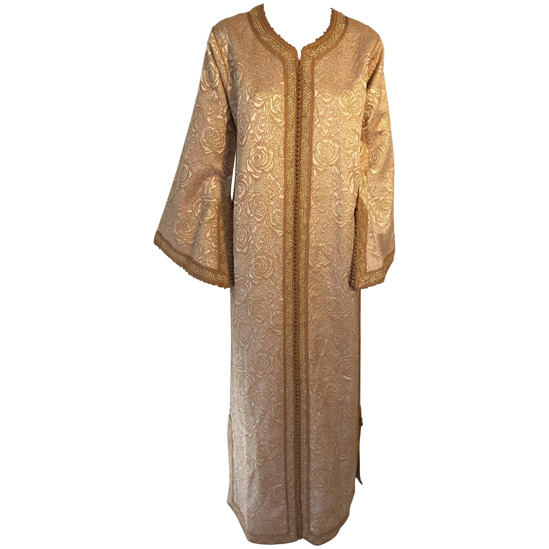 Moroccan Caftan in Gold Bronze Metallic Brocade, Maxi Gown Dress Kaftan
