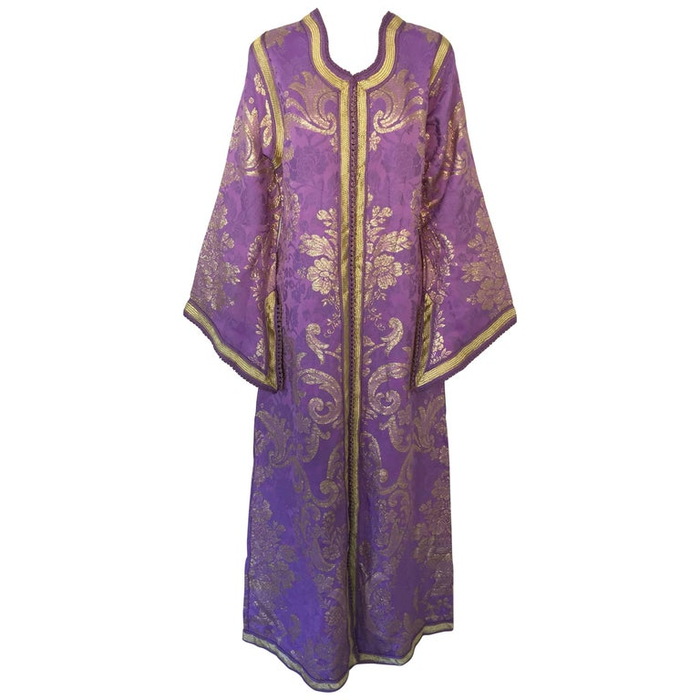 Lavender and Gold Brocade 1970s Maxi Dress Caftan, Evening Gown Kaftan For Sale