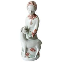 Royal Copenhagen Georg Thylstrup figurine of Girl with Deer #1531