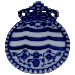 Royal Copenhagen Porcelain Button with Crown and Blue Fluted Motif