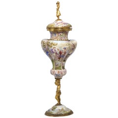 Vienna Enamel Covered Chalice, Silver Gilt Figure Stem, circa 1890