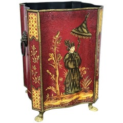 Red Tole Chinoiserie Wastepaper Bin or Trash Can