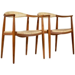 Pair of Early Oak and Cane Round Chairs by Hans Wegner