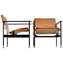 Early Pair of Charles Pollock Lounge Chairs in Cognac Leather